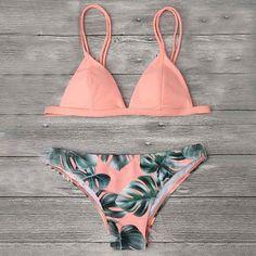 39a67cfd93fdf Newest Women Swimwear Triangle Bikini Set Leaf Printed Bathing Suit  Swimming Suit Brazilian Biquini Two Pieces Swimsuit
