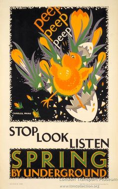 Vintage Underground Travel Poster - Spring - by Charles Paine.