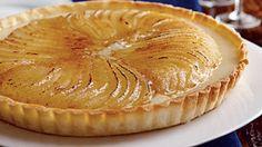 Roasted pear creme brulee tart