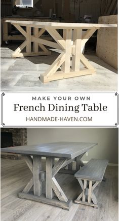 This French Farmhouse Table can be made easily with these free farmhouse table plans. This easy step by step tutorial shows you how to create this French farmhouse dining table. French Dining Tables, Farmhouse Dining Room Table, Dinning Room Tables, Wooden Dining Tables, Unique Dining Tables, Wooden Table Diy, Diy Table, Dining Table Upcycle, Build A Farmhouse Table