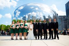 """The Wedding Party at """"The Bean"""" or the Cloud in Downtown Chicago  Photo: Steve Koo"""