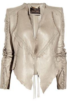 Roberto Cavalli lace-up leather jacket  i like the seams...