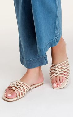 Order the Melanie Cream Knotted Flat Slide Sandals Here. Sandals Outfit, Sport Sandals, Slide Sandals, Women Sandals, Shoes Women, Ladies Shoes, Sparkle Flats, Court Shoes, Women's Shoes