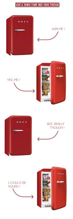 I'd love a red mini-SMEG to house client beverages so I don't drink them all… Smeg Mini Fridge, Tiny Fridge, Little Kitchen, Family Kitchen, Green Countertops, Smeg Kitchen, Home Office Design, Inspirational Gifts, Beautiful Kitchens