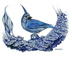 Small birds in blue ink