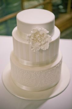 white wedding cake, simple classic cake, www.styleandbride.com  With a bundle or short stem roses on top instead of around the cake Flocked all layers