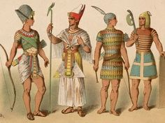 different costumes of the ancient Egyptians. variety of drapings, tunics and  headdress. even featuring a triangle apron dress for the one wearing a Pschent crown of lower and upper Egypt. shows also some wore sandals while others did not.