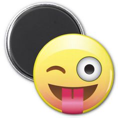 2f1d103e83 Happy Tongue Out Wink Emoji Funny Face Magnet - Did you take your happy  pill today