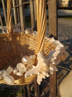 Use this basket to hold the bubbles for the ceremony :) Seashell Flower Girl Beach Wedding Basket