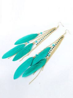 Blue Feather Drop Earring With Chain Tassel | Choies