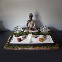 Meditating Buddha Statue // Buddhist Altar // Table Shrine // Mini Zen Garden // Lotus Candle Holder // Incense Holder // Yoga // DIY Kit - Gardening For Beauty Buddha Meditation, Meditating Buddha Statue, Meditation Corner, Meditation Space, Meditation Garden, Meditation Music, Jardin Zen Miniature, Lotus Candle Holder, Deco Zen