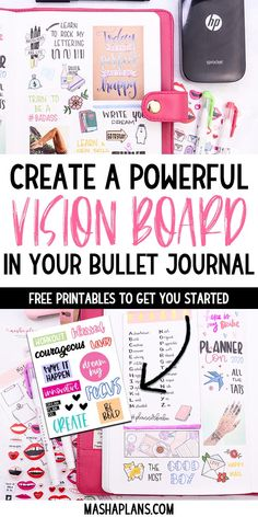 Vision Journal Ideas, Bullet Journal Vision Board, Bullet Journal How To Start A, Bullet Journal Free Printables, Bullet Journal Ideas Pages, Bullet Journal Inspiration, Planner Pages, Planner Ideas, 2015 Planner