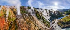 Valley of Geysers, Kamchatka, Russia - AirPano.com • 360 Degree Aerial Panorama • 3D Virtual Tours Around the World