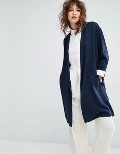 ASOS navy blue long blazer