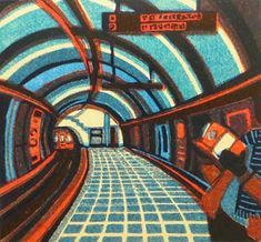 Gail Brodholt original London Underground tube train linocut art prints - Robert Perera Fine Art Gallery of Lymington Linocut Prints, Poster Prints, Posters, Gill Sans, London Transport Museum, Public Transport, London Underground, Underground Arts, A Level Art