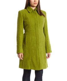 Look what I found on #zulily! Lime Textured Wool-Blend Coat - Women #zulilyfinds