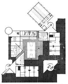 Carlo Aymonino, High School of Science, Ground Floor Plan, Pesaro, Italy, 1970-1976