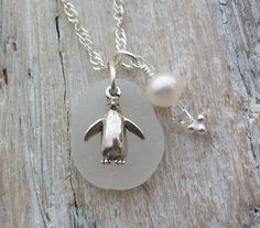 Scottish Sea Glass and Sterling Silver Penguin Necklace - PINGU £21.00