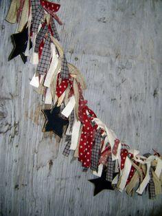 Patriotic Fabric Rag Garland with wood Stars Raggy Banner Burgundy Navy Cream Prim Rustic rag banner. $36.00, via Etsy. Rag Garland, Bunting Garland, Fabric Garland, Fabric Banners, Garland Ideas, Country Crafts, Americana Crafts, Patriotic Crafts, Patriotic Decorations