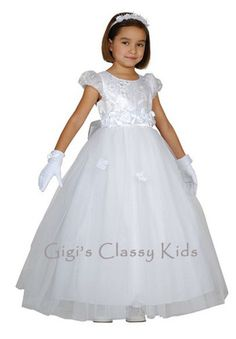 New Girls White First Communion Dress Size 8 Flower Girl Dress Baptism Fancy