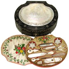 Rare Ornate Antique French Palais Royal Sewing Box and Twelve Mother of Pearl Enamel Tools | 1stdibs.com