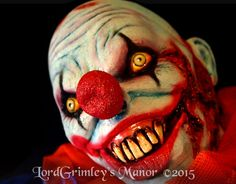 """Zombie Balloon Clown Price: $119.99 E-Bay: http://www.ebay.com/itm/Zombie-Balloon-Clown-Bloody-Hanging-Halloween-Prop-Horror-Haunted-House-/391059213236?pt=LH_DefaultDomain_0&hash=item5b0cf20bb4   Words can't describe how good this killer zombie clown is !!  He is a full size half-prop at well over 3' long when his arm is extended. The details and fabrics are fantastic.  Foam filled latex head and hands. Dimensions: 30"""" Length  18"""" Width  Questions ? Contact us at order@lordgrimley.com"""