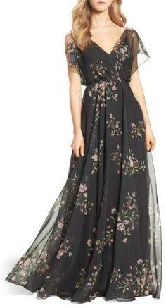 Jenny Yoo Cassie Flutter Sleeve Surplice Gown