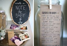 Baby shower-- {wishes for baby} cards & wood round chalkboard