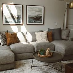 living room update with raymour & Flanigan Living Room Update, Cozy Living Rooms, Living Room Grey, Living Room Sofa, Home Living Room, Living Room Designs, Living Room Decor For Brown Couches, Charcoal Sofa Living Room, Living Room Decor Grey Couch