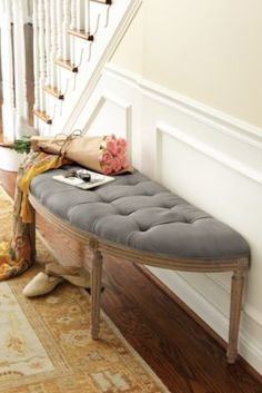 Louis Curve Bench - Linen Upholstered Bench, Oak Bench, Accent Bench | Soft Surroundings