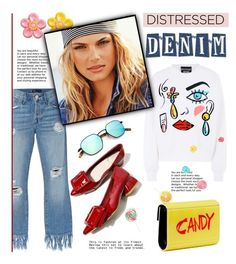 """""""Candy distressed denim"""" by edita1 ❤ liked on Polyvore featuring Boutique Moschino, 3x1, Jimmy Choo and distresseddenim"""