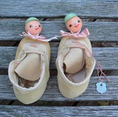 Vintage Baby Booties with Celluloid Rattles on Toes