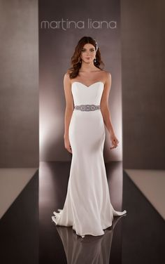 "Learn more about this modern Silk sheath wedding dress from Martina Liana featuring a sweetheart neckline and a detachable 2.5"" French Satin Ribbon belt with embellishments."
