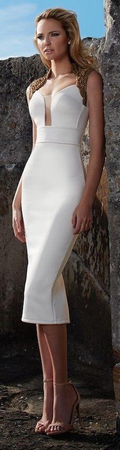 @roressclothes closet ideas #women fashion outfit #clothing style apparel white midi dress