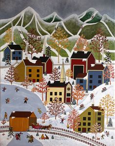 Etsy: Folk Art Winter print by Medana Gabbard by MedanaGabbardGallery, $30.00