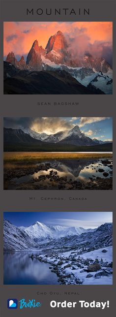 """16 stunning landscape photos in one beautiful book. Get photographer Sean Bagshaw's breathtaking """"Mountain"""" Booxie today!"""
