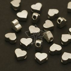 ME132OR / 4 Pcs  Tiny Flat Heart Bead Centerpiece by beadsmaker, $3.95