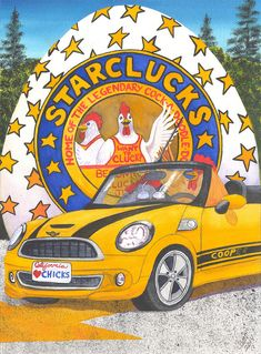 Chickens Painting - Starclucks by Catherine G McElroy
