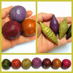 Hollow beads polymer clay TUTORIAL how to by OrlyFuchsGalchen, $25.00