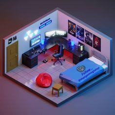 Gamer Bedroom, Bedroom Setup, Bedroom Layouts, Computer Gaming Room, Gaming Room Setup, Gaming Rooms, Home Office Design, House Design, Small Game Rooms