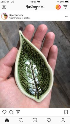 Read the original post below. Its kind of cool to be able to hold a leaf forever isnt it? You can win one of my leaf pieces - scroll back to the last post to enter Hand Built Pottery, Slab Pottery, Ceramic Pottery, Pottery Art, Diy Tableware, Ceramic Tableware, Ceramic Spoons, Ceramic Clay, Pottery Handbuilding