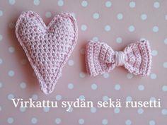 Life with Mari: Virkattu sydän sekä rusetti ♥ OHJE