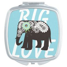 Pretty Paisley Elephant Design Elegant Cute Light Blue Compact Mirror - Big Love #makeup #giftsforher #animal