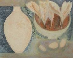 Pale Vessel, Crocus and Eggs by Vivienne Williams