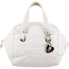 Pre-owned Chanel Paris-Biarritz Bowler Bag ($775) ❤ liked on Polyvore featuring bags, handbags, neutrals, white hand bags, man bag, chanel bags, white handbags and chanel purse
