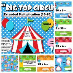 Big top circus extended multiplication smart board game have fun at