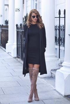 justthedesign: Nada Adelle wears mocha over the knee boots with cute black dress. Longline Blazer: Urban Outfitters, Mini Dress: Asos, Suede Boots: The Fashion Bible.
