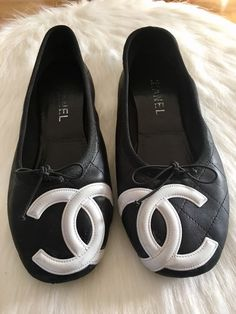 68c6deb5143 Black Cambon White Cc Quilted Leather Ligne Ballet Flats