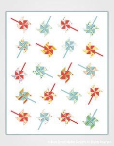 3D pinwheels quilt pattern