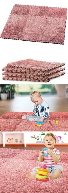 Kids Rugs: Hemingweigh Fuzzy Area Rug - 9 Fluffy Carpet Tiles For Kids - Ideal For Nurse... BUY IT NOW ONLY: $14.05